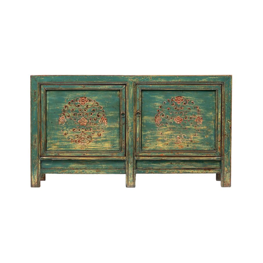 Kommode Gansu Original China Möbel Türkis/Blau ca. 80 Jahre alt