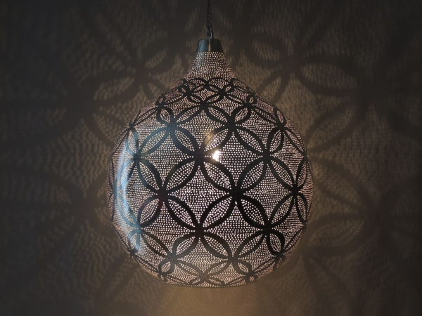 Hängelampe - Blume des Lebens Ball L - versilbert - Handwerk - Hadaya