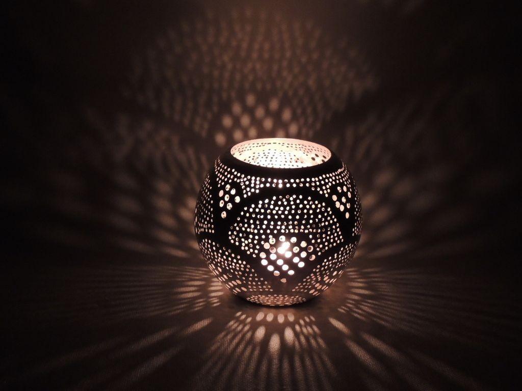 Orientalische Windlicht Round Fan silber - Zenza