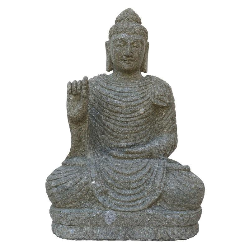 Buddha sitzend Rad der Lehre - 75 cm - handgeschlagen - grüner Basanit