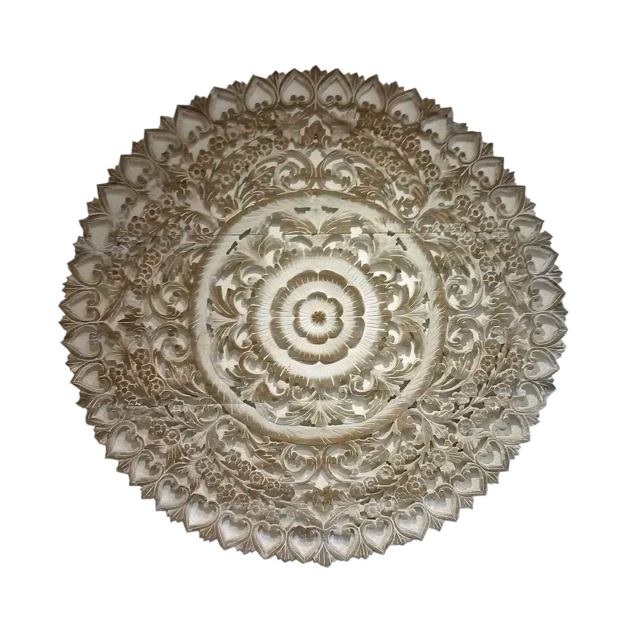 Wandbild - Carving-Schnitzerei - D 90 cm - Teak white wash - Handwerk Thailand
