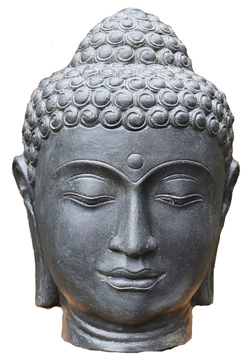 Buddha Kopf 50cm SchwarzAntik - Steinfigur Hohlguss