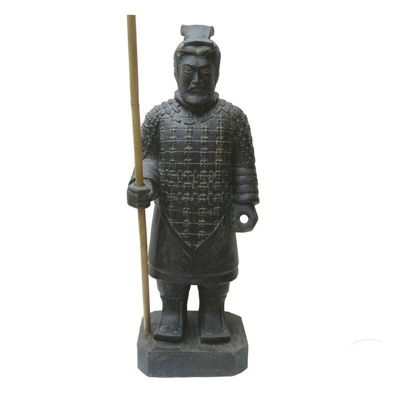 Chinesischer Krieger stehend 100 cm schwarz Steinguss