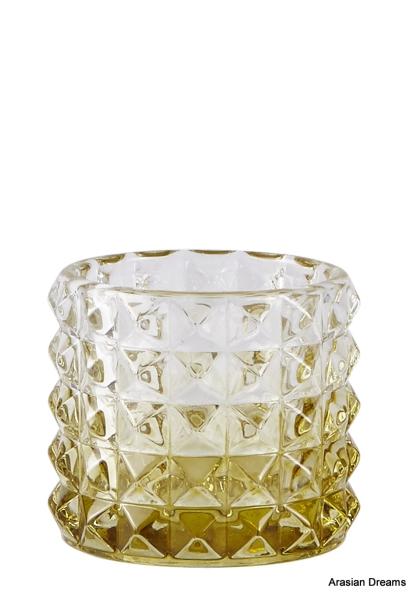 Windlicht aus Glas - Gelb - D7,5x6,5cm