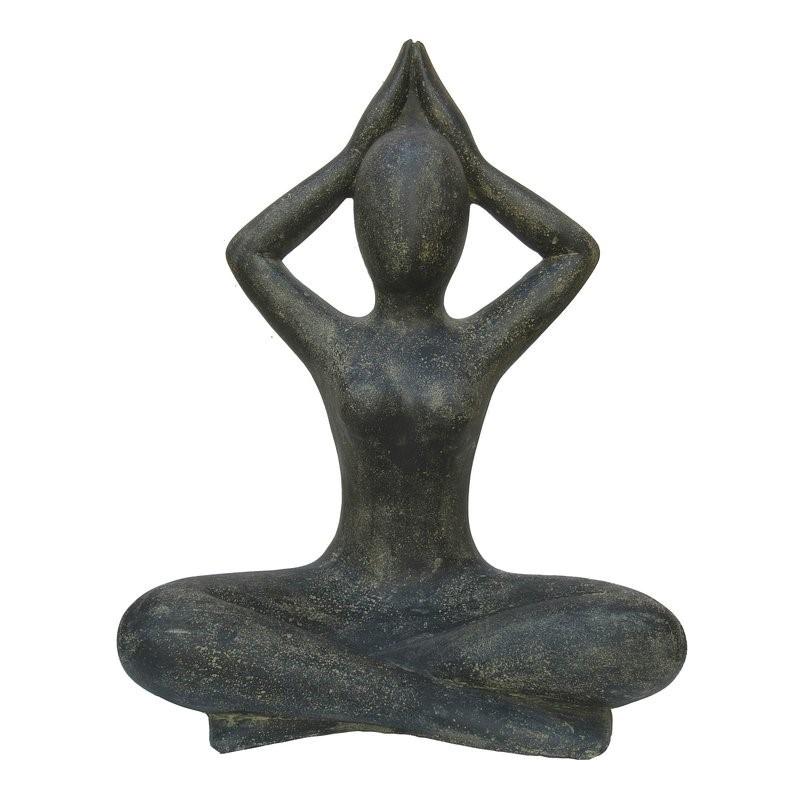 Yoga Figur Shukasana 80 cm - schwarz antikfinish - Vollguss