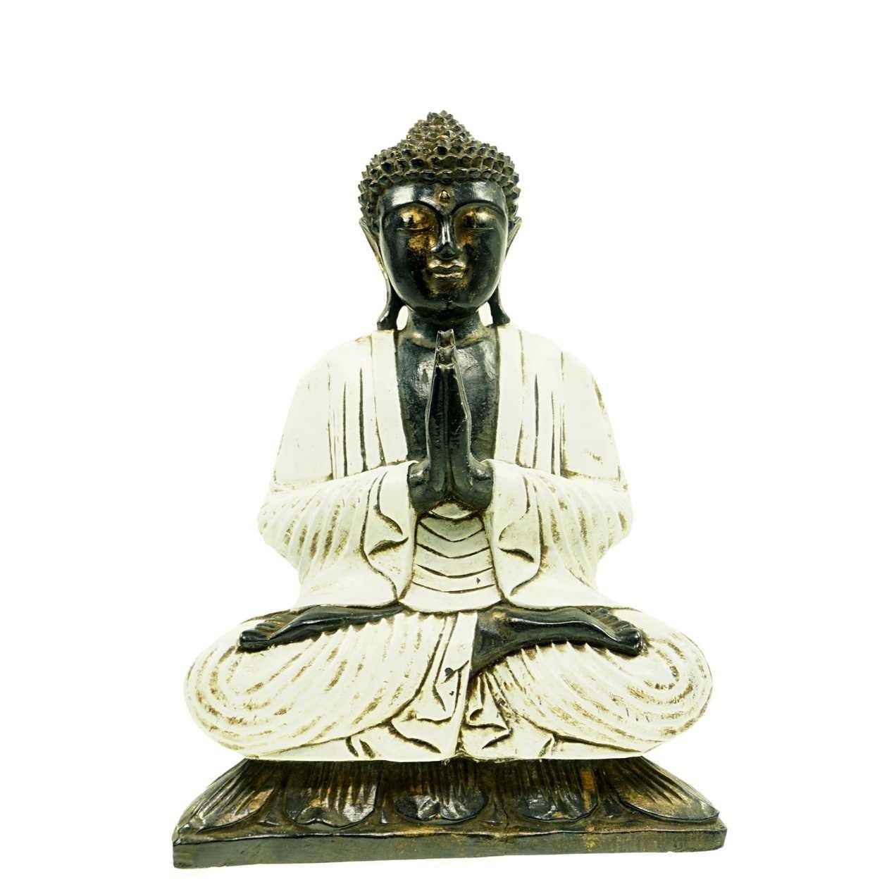 Buddha Nausan Weiss 50 cm Suarholz Unikat