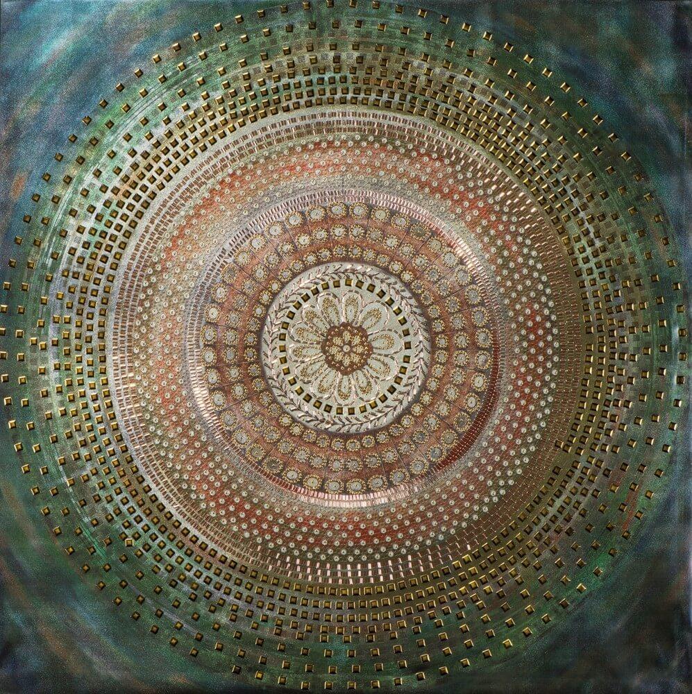 Wandbild - Mandala Dream - auf Leinwand - 90 x 90 - bedruckt / bemalt