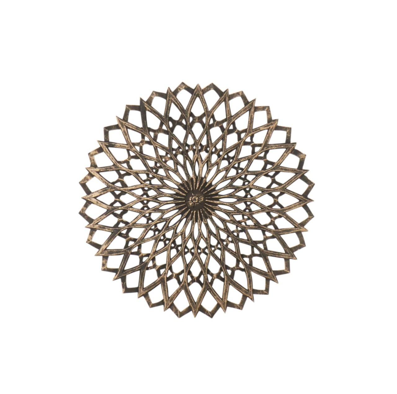 Mandala Holzbild MDF 60cm schwarz-goldfarben