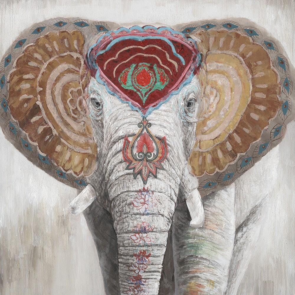 Wandbild Indian Elefant - 100 x 100 cm - handbearbeitet