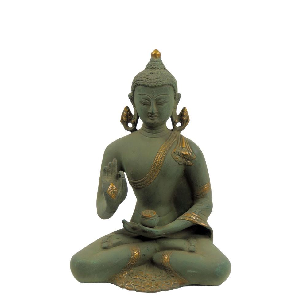 "Messingfigur ""Buddha Chanton"" ca. 23 cm - Farbe Grün/Gold - Handwerk Indien"