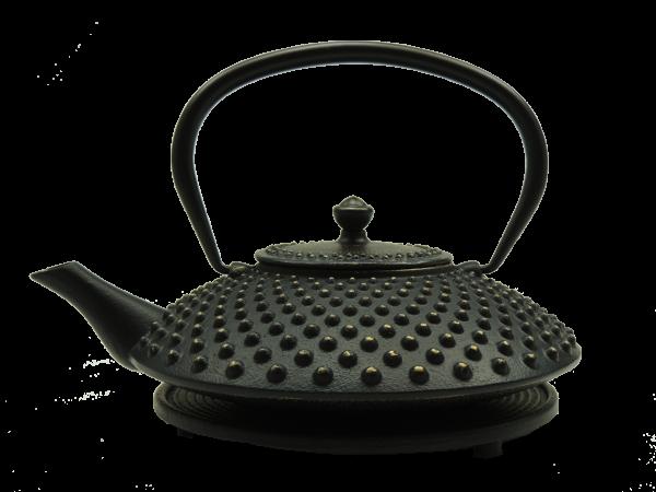 Teekanne Kambin, 1.0 Liter, Gold/Schwarz, inkl. Untersetzer und Teesieb