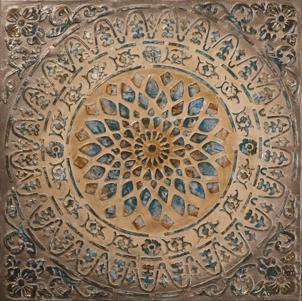 Wandbild - Sun Mandala - auf Leinwand - 100 x 100 - handbearbeitet