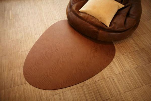 Lederteppich floorMAT naturfarben in Croco-Musterung