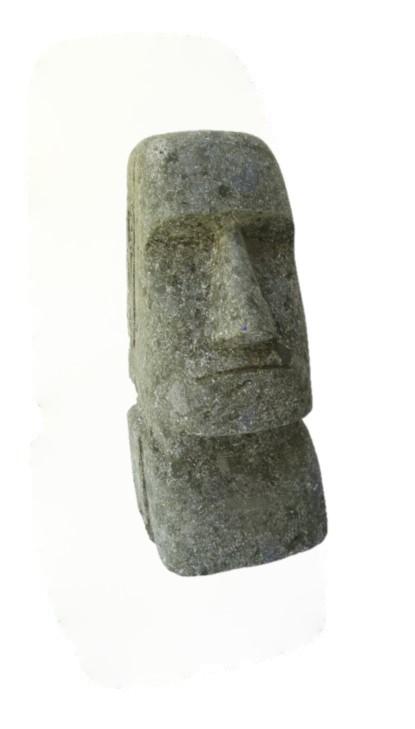 Moai 30 cm - handgeschlagen - grüner Basanit - Unikat