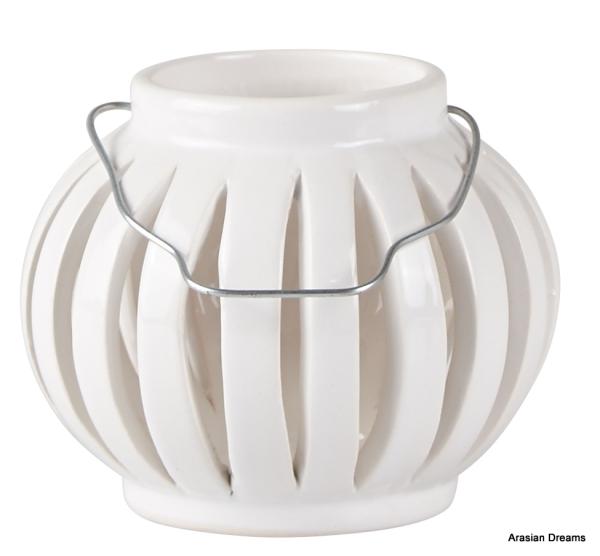 Windlicht m.Henkel - weiss - D 10,5cm - H8,0cm - KJ Collection