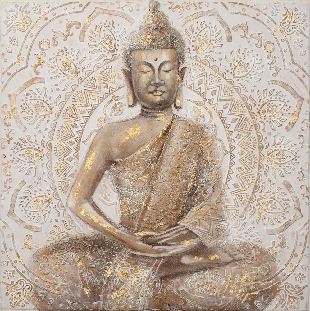 Wandbild - Buddha Goldflower sitzend - auf Leinwand - 100 x 100 - handgefertigt