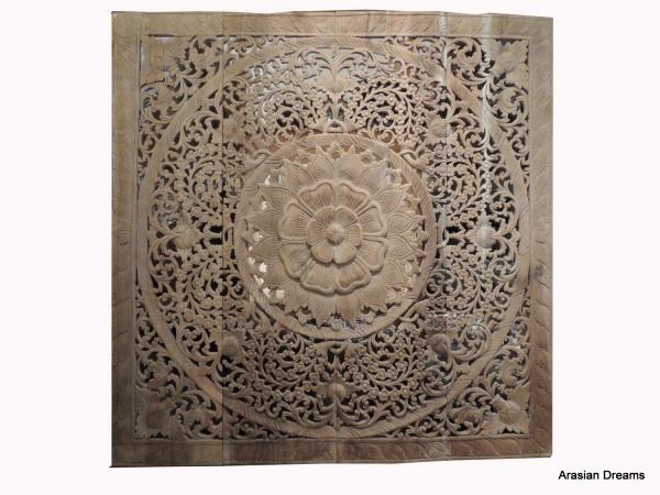 Wandbild - Carving-Schnitzerei - 120x120 cm - Teak - Handwerk Thailand