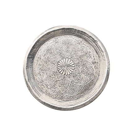 Tablett - Alu - Ø48cm - Indian Style - Handwerk Indien - Van Verre