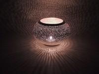 Windlicht Shibam gross - versilbert - Handwerk - Zenza
