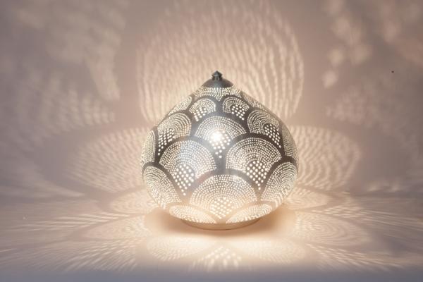Tischlampe / Bodenlampe - Princess Fan Small - versilbert - Zenza