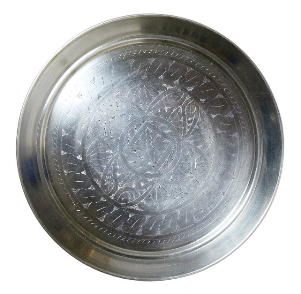Tablett, Aluminium gepunzt, Durchmesser 43 cm / 32 cm