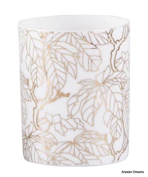 Teelichthalter - Blatt Motiv 1 - Porzellan - Weiss / Goldfarben