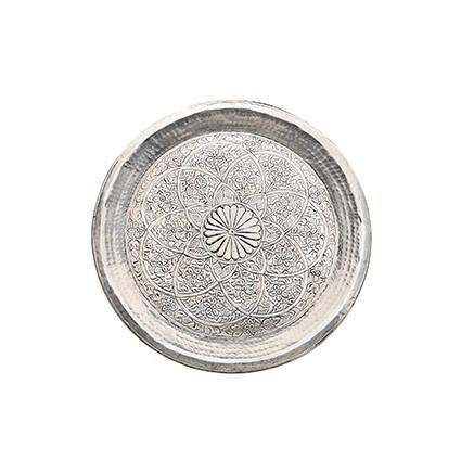 Tablett - Alu - Ø38cm - Indian Style - Handwerk Indien - Van Verre