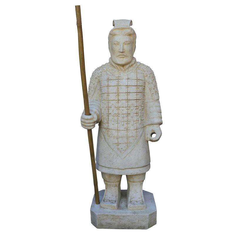 Chinesischer Krieger stehend 100 cm weiss Steinguss