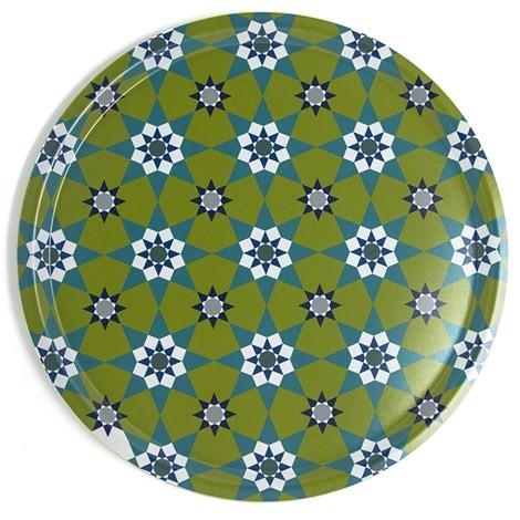 Tablett Kaobak Green - rund D38cm - Birkenfurnier