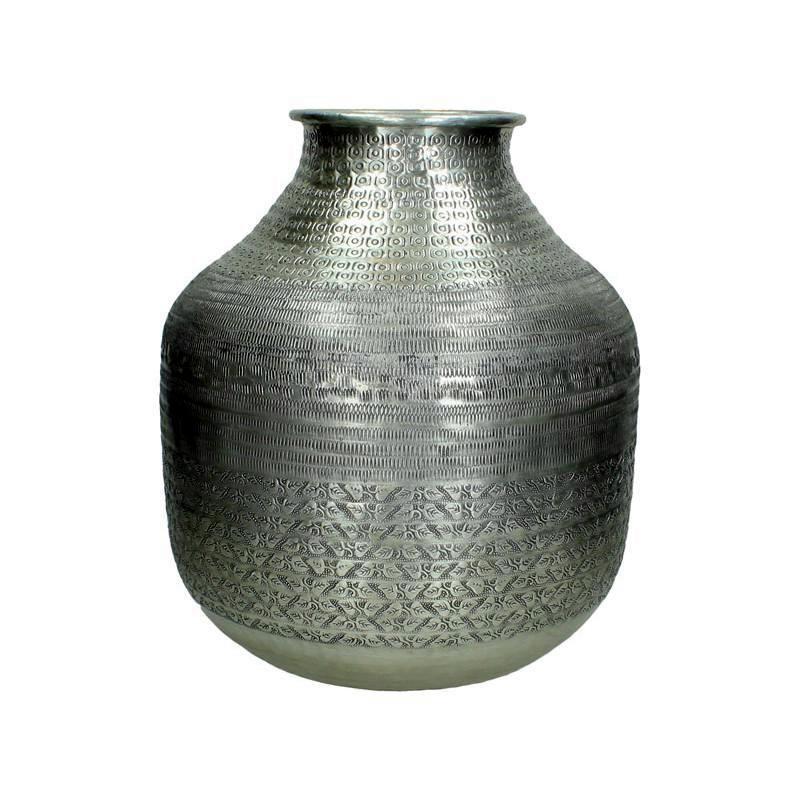 Vase / Deko-Vase - hohe schmale Form - Alu bearbeitet - Ethno Look