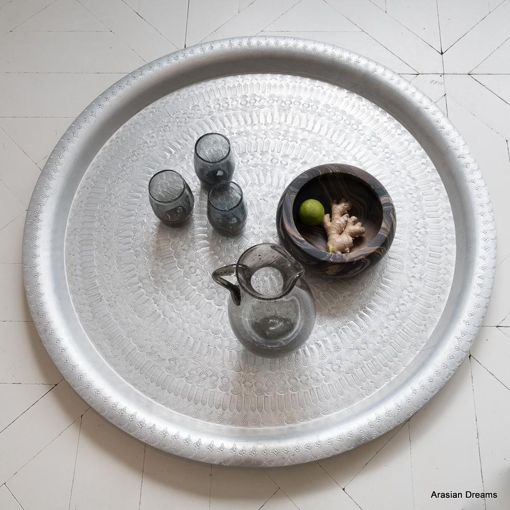 Teetablett antiklook Gr. XL / D90cm - Alu bearbeitet - Handwerk Ägypten - Zenza