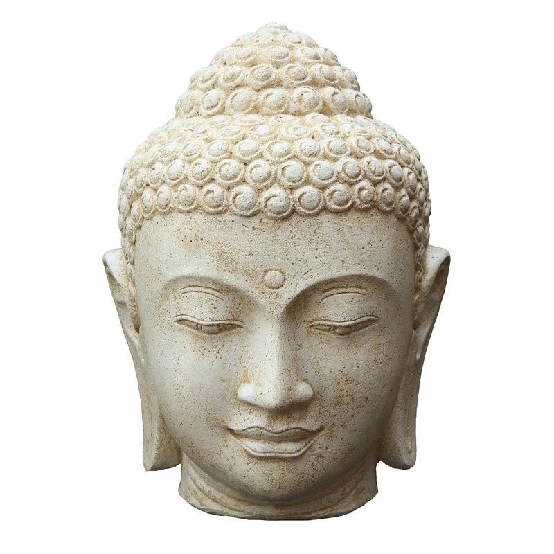 Buddha Kopf 75 cm WeissAntik - Steinfigur Hohlguss