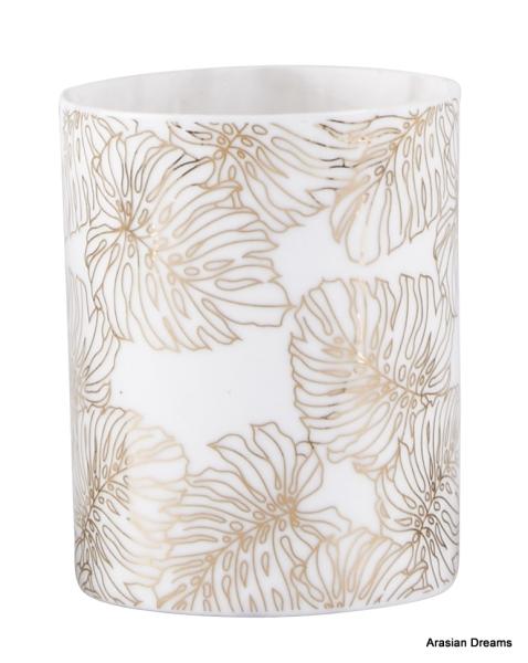 Teelichthalter - Blatt Motiv 3 - Porzellan - Weiss / Goldfarben