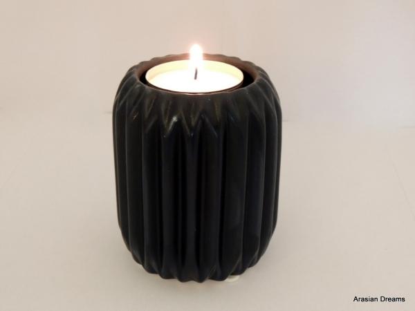Windlicht gross Keramik - dunkelblau