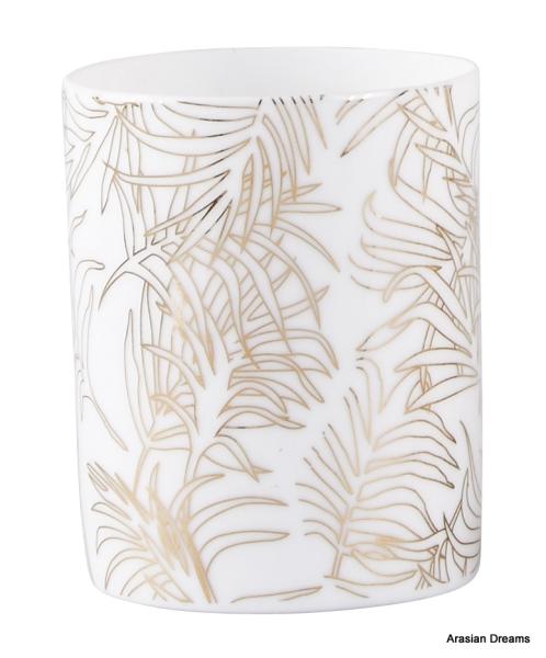Teelichthalter - Blatt Motiv 2 - Porzellan - Weiss / Goldfarben