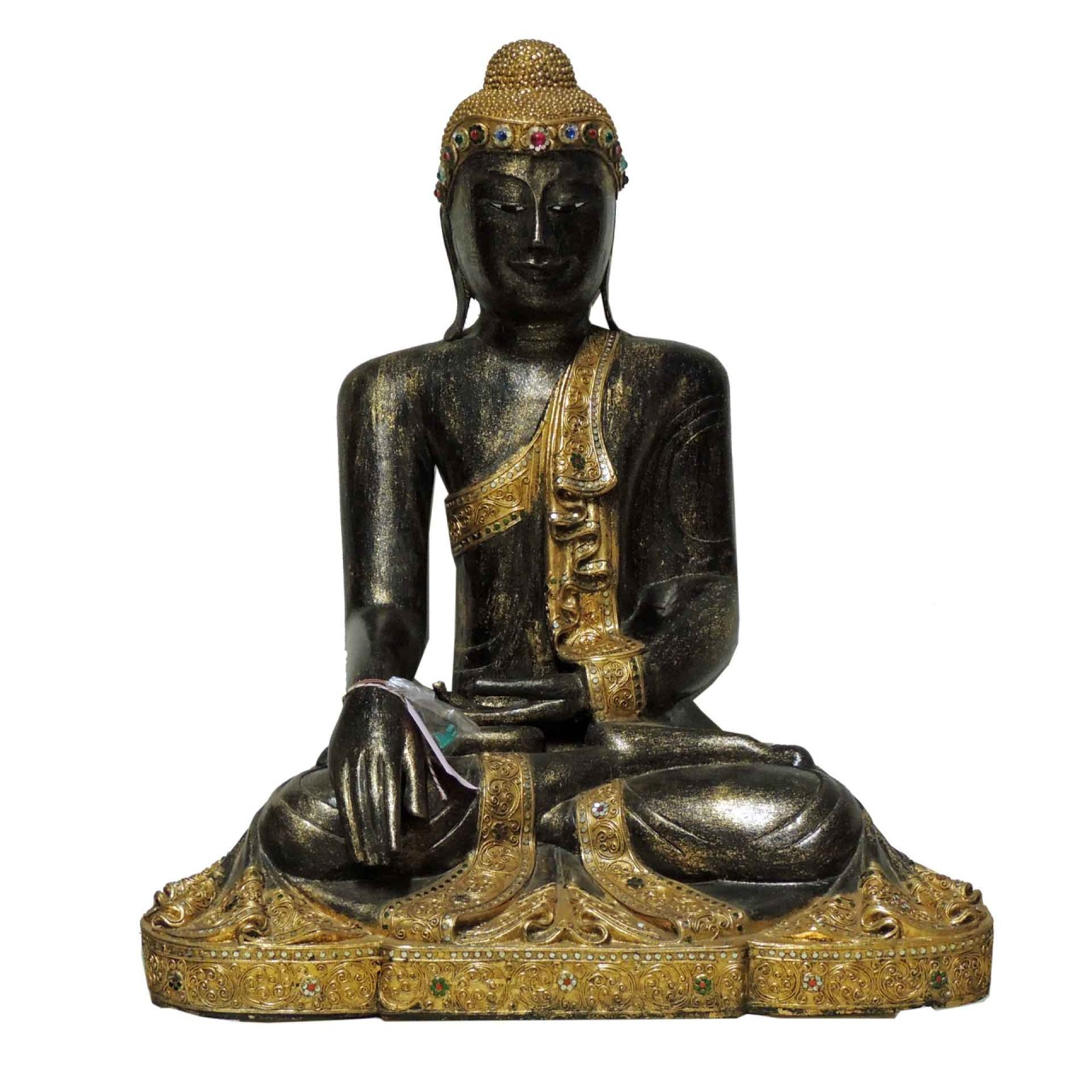 Buddha Thailand sitzend - 90cm - schwarz/goldfarben - Unikat