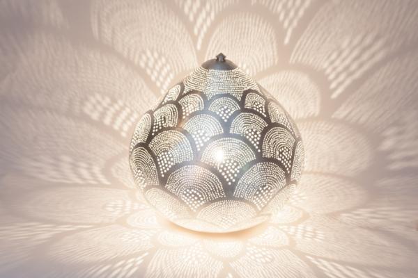 Tischlampe / Bodenlampe - Princess Fan Large - versilbert - Zenza