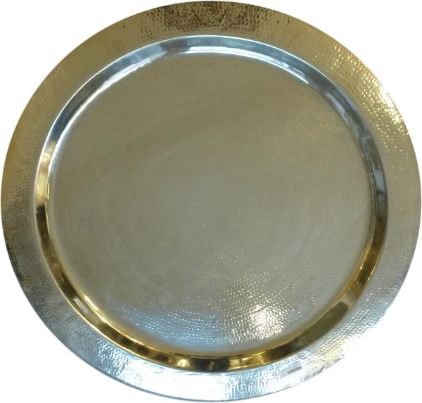 Teetablett Balat - Messing gehämmert und vernickelt - D80 cm - Handwerk - Marokko