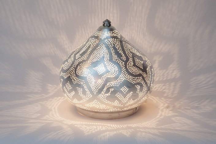 Tischlampe / Bodenlampe - Filigrain Small - versilbert - Zenza