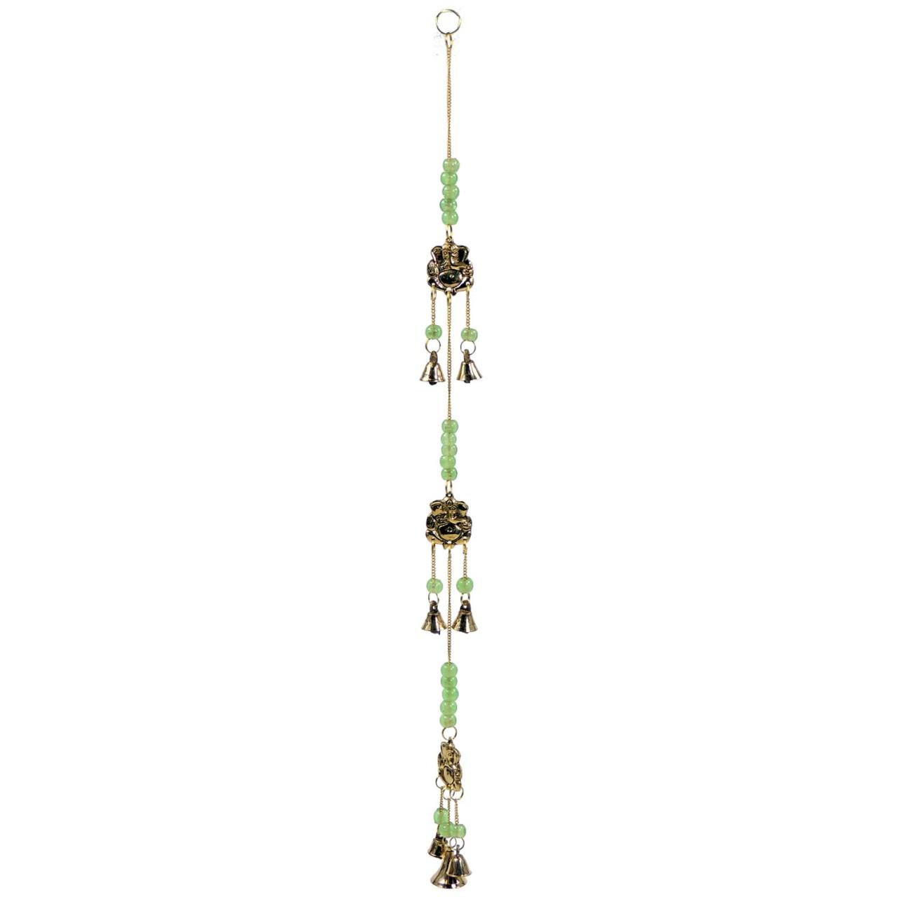 Windspiel 3erGlöckchen Ganesha – Messing / Glas – Handwerk Indien