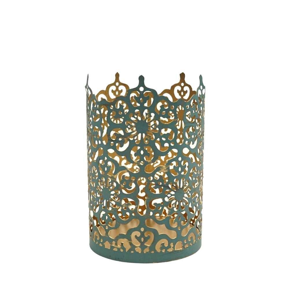 Windlicht Ornament M blau 10x15cm