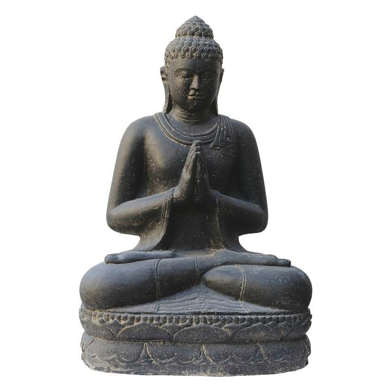 Buddha sitzend 100 cm - Begrüssung - Steinguss - Indonesien