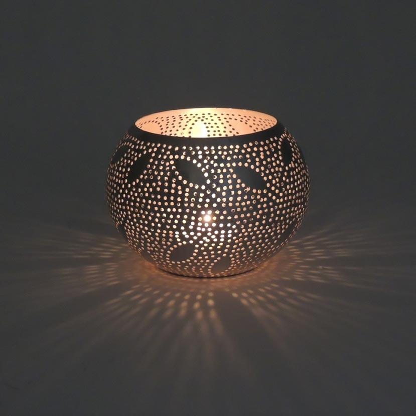 Orientalisches Windlicht Leaves Small - versilbert - Handwerk