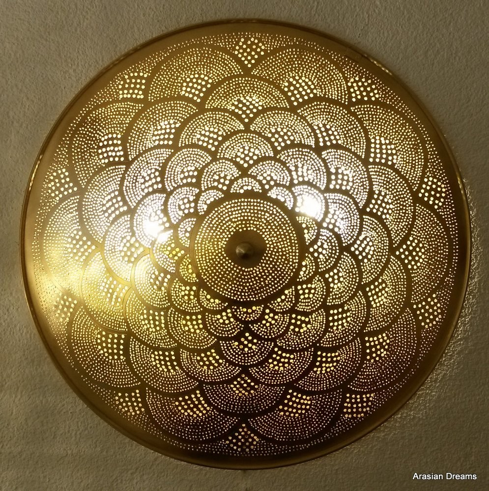 Wandlampe / Deckenlampe - 60 cm - goldfarben / Sonderedition - Fan XL- Zenza