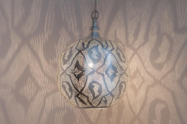 Hängelampe - Ball Filigrain Medium - versilbert - Zenza