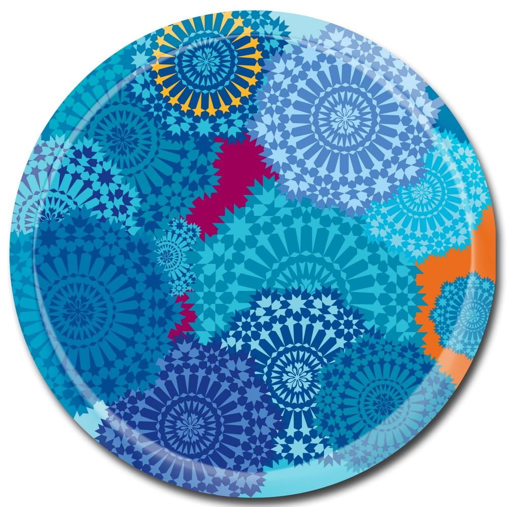 Tablett Mosaic Blue - rund D38cm - Birkenfurnier