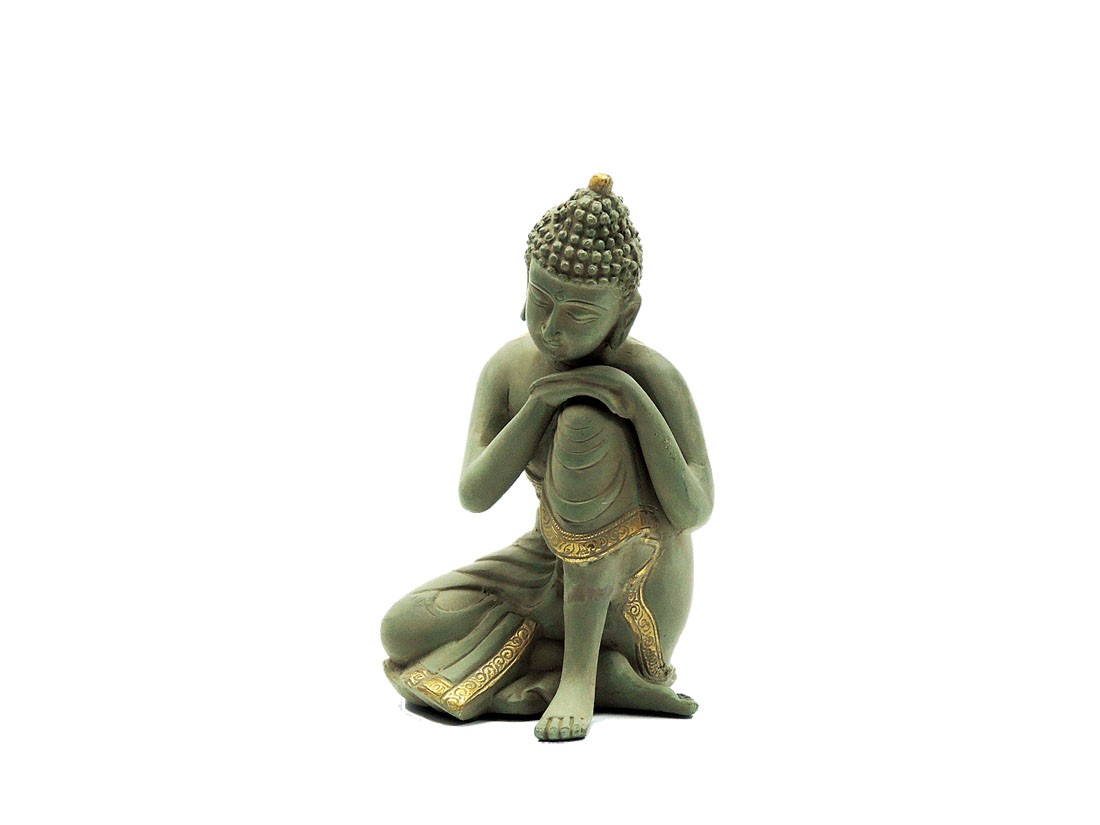 "Messingfigur ""Sleeping Buddha"" ca. 21 cm - Farbe Gold/Lightgreen - Handwerk Indien"
