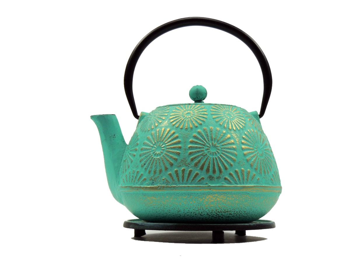 Teekanne Hani, 1.0 Liter, Türkis-Gold, inkl. Untersetzer und Teesieb