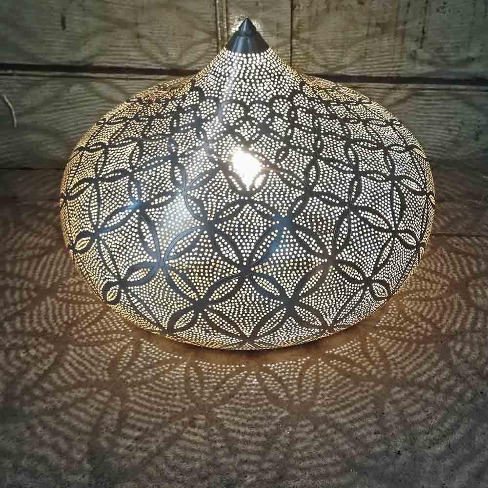 Bodenlampe Potiki Flower XL versilbert - Handwerk