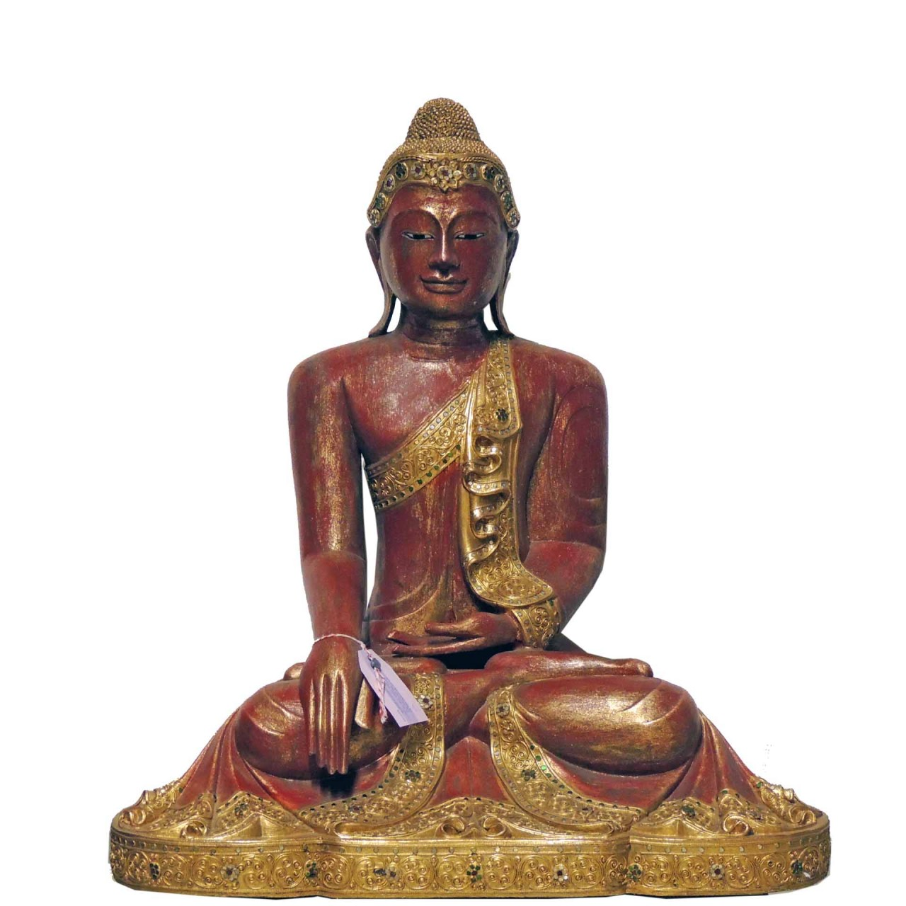 Buddha Thailand sitzend - 90cm - rot/goldfarben - Unikat
